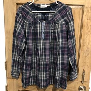 Avenue Tops - Plaid Flannel Lacy Back Size 18/20